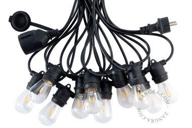 LICHTSLINGER ZWART MET 10 HELDERE E27 LAMPJES 1W LED IP44