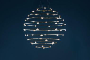 56 PETITS BIJOUX / PENDANT LAMP / BRASS RINGS / WHITE BASE /