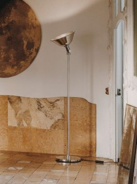 GATCPAC: POLISHED ALUMINIUM STRUCTURE AND LAMPSHADE.