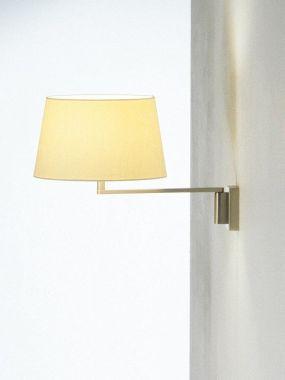 AMERICANA WALL LAMP: SATIN NICKEL STRUCTURE. WHITE LINEN LAM