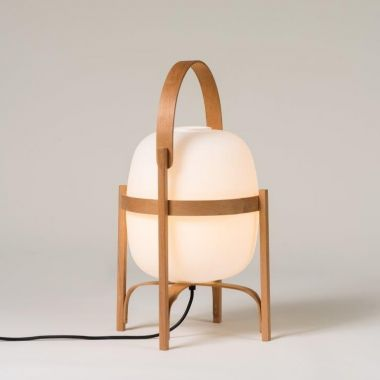 CESTA: CHERRY WOOD STRUCTURE. WHITE OPAL GLASS LAMPSHADE.