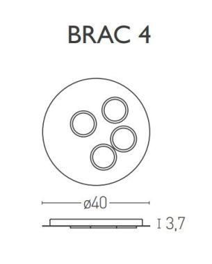 BRAC4 CEILING LAMP WHITE /WHITE/SATIN BRASS  23,2W 2700K LED