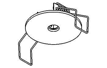 ROSETTE INBOUWROZET ROND WIT TEXT. 50mm afd. 35-40mm borin