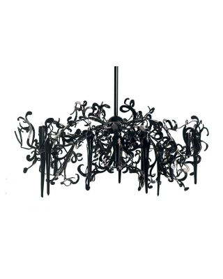FLOWER POWER HANGING LAMP ROUND Ø120XH.50 CM BLACK FINISH