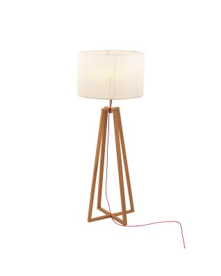 CLUB FLOOR LAMP - TEAK / STAINLESS STEEL - ELECTROPOLISHED -